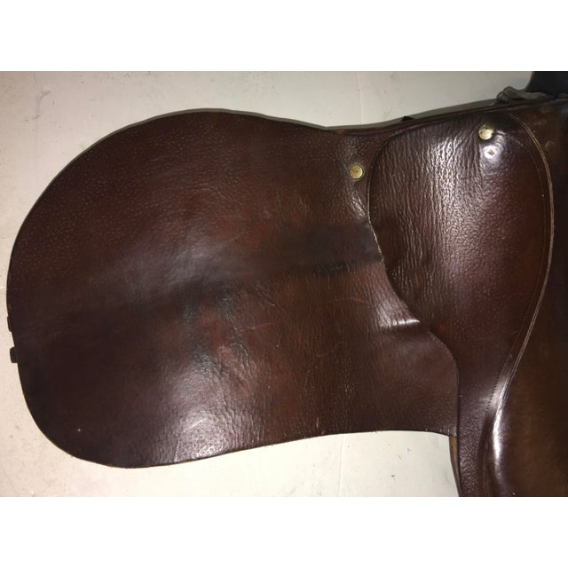 Vintage Equestrian English Leather Lady Saddle For Sale - Image 9 of 13