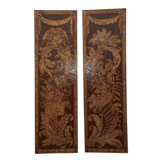Vintage Asian Oriental Maitland Smith Style Two Panel Screens / Wall Hangings - a Pair For Sale
