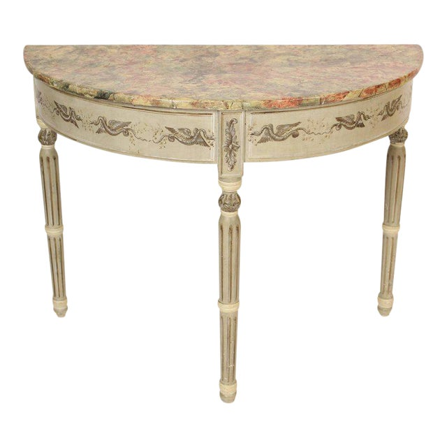 Louis Philippe Painted Demilune Console Table For Sale