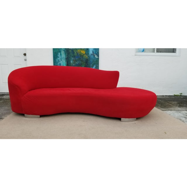 Vladimir Kagan Red Velvet Serpentine Sofa . For Sale - Image 13 of 13
