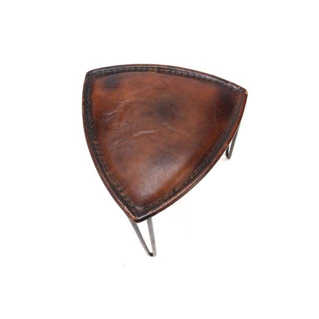 Triangular Leather Hairpin Leg Stool - Image 2 of 3