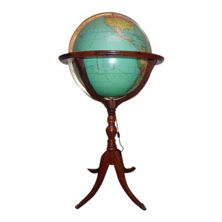 Vintage Rand McNally Terrestrial Lighted Floor Globe on Full Mount Walnut Stand For Sale