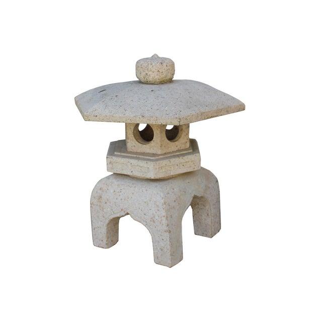 Stone Chinese Zen Off White Gray Hexagon Stone Garden Lantern Statue For Sale - Image 7 of 7