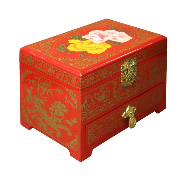 This is a Chinese decorative jewelry chest box with mirror , drawer and accessories tray inside. The surface is a layer of...
