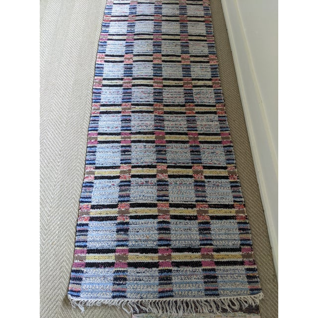 "Blue Handwoven Reversible Vintage Swedish Rug by Scandinavian Made 124"" x 33"" For Sale - Image 8 of 12"