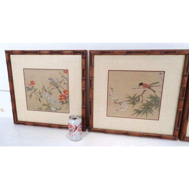 Very nice set of three vintage Japanese silk perched bird prints from a mid century estate. All original, professionally...