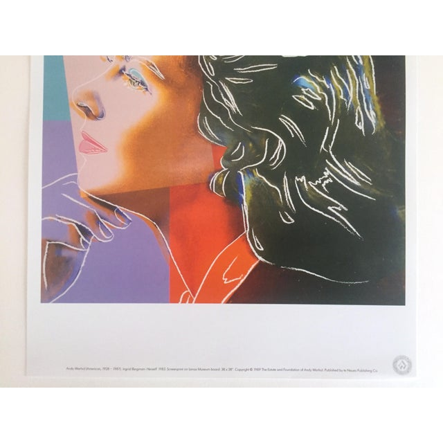 "Hollywood Regency Andy Warhol Estate Rare Vintage 1989 Collector's Pop Art Lithograph Print "" Ingrid Bergman "" 1983 For Sale - Image 3 of 9"