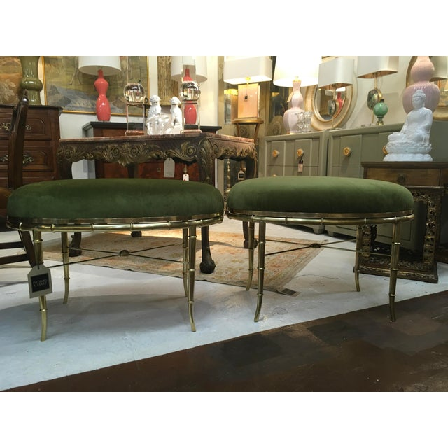 Mastercraft Brass Faux Bamboo Benches - a Pair For Sale - Image 10 of 10