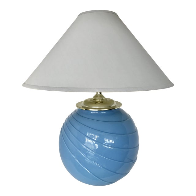 Art Deco Sky Blue Glass Table Lamp - Image 1 of 9