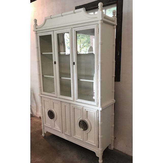 Chinoiserie Faux Bamboo Painted China Cabinet For Sale In New York - Image 6 of 10