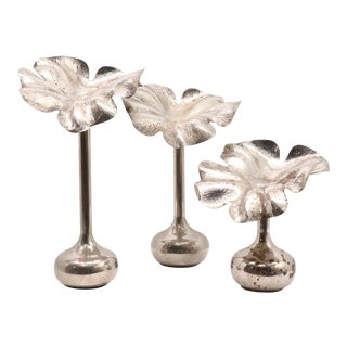 1960s Modernist Marilena Mariotto Silver Plated Vases - Set of 3 For Sale