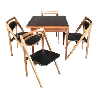 1960s Mid-Century Danish Modern Walnut Dining Set - 5 Pieces For Sale