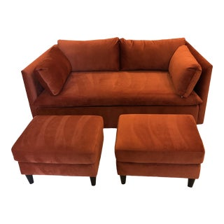 Velvet Loveseat Sofa & Matching Ottomans For Sale