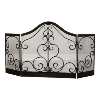 Quality Hand Forged Iron Tri Fold Fireplace Screen For Sale