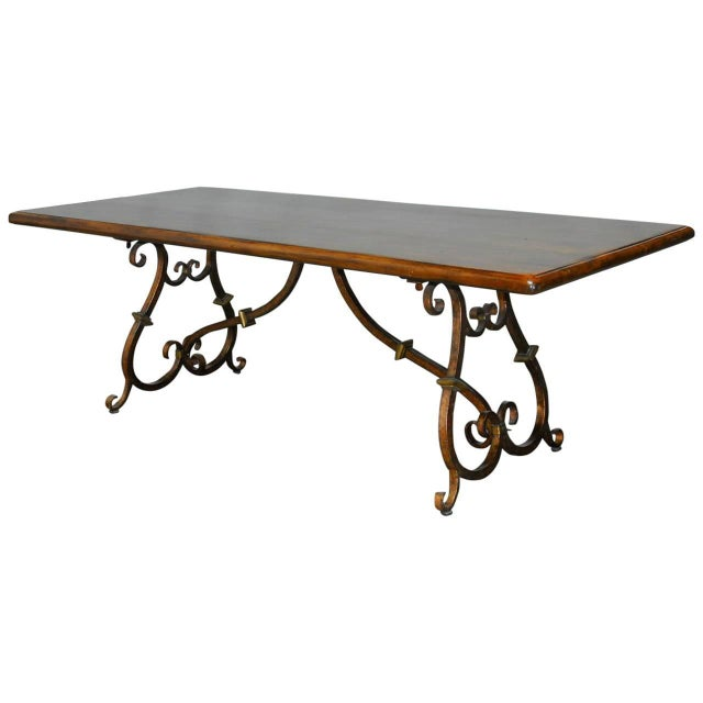 Spanish Colonial Trestle Table With Wrought Iron - Image 1 of 10