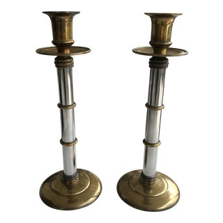 Maitland Smith Brass and Chrome Bamboo Style Tall Candlesticks-A Pair For Sale