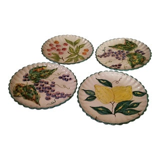 Italian Vintage Delft Faience Fruit Plates - Set of 4 For Sale