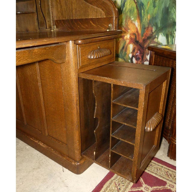 Wood Solid Oak Rolltop Desk With Roll Front Hutch For Sale - Image 7 of 12
