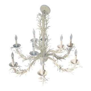 Hollywood Regency Coral Metal Shell Chandelier