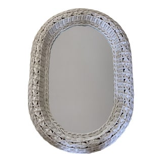 Vintage Cottage Wood Wicker Wall Mirror For Sale