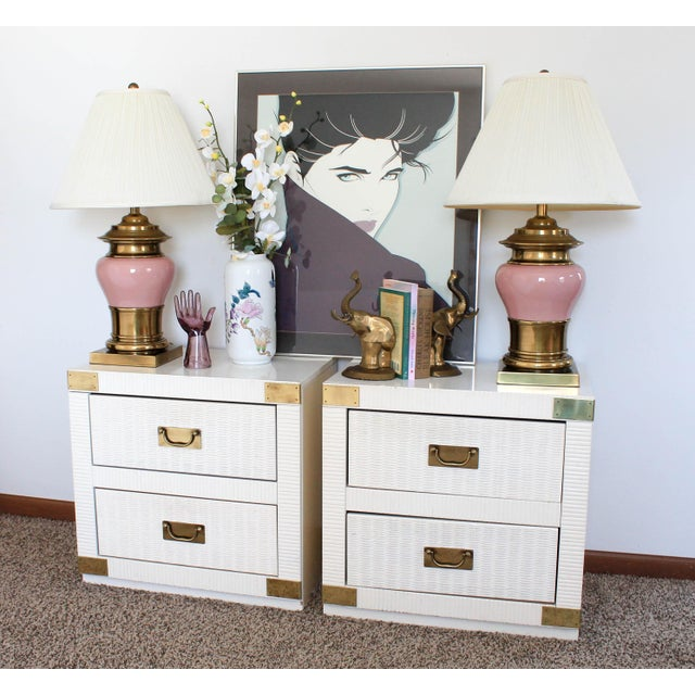 Pink and Brass Vintage Table Lamps - a Pair For Sale - Image 10 of 12