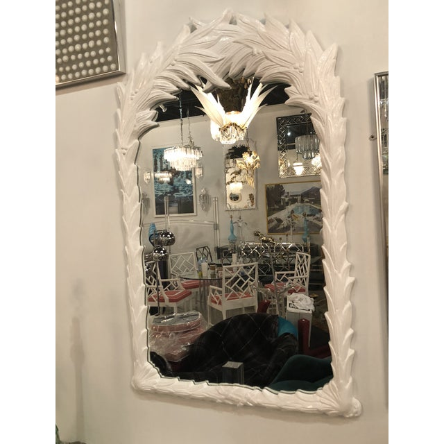 1970s Vintage White Lacquered Palm Frond Wall Mirror For Sale - Image 5 of 11