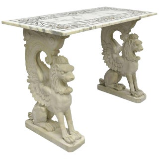 20th Century Neoclassical Style Marble-Top Console Hall Table For Sale