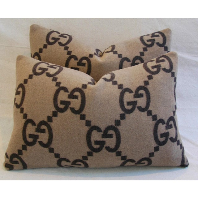 """23"""" X 16"""" Custom Tailored Gucci Cashmere & Velvet Feather/Down Pillows- Pair - Image 3 of 10"""