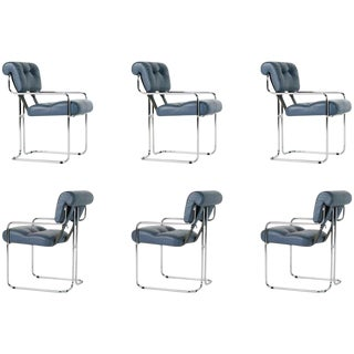 Blue-Grey Leather Tucroma Chair by Guido Faleschini for I4 Mariani- Set of 6 For Sale