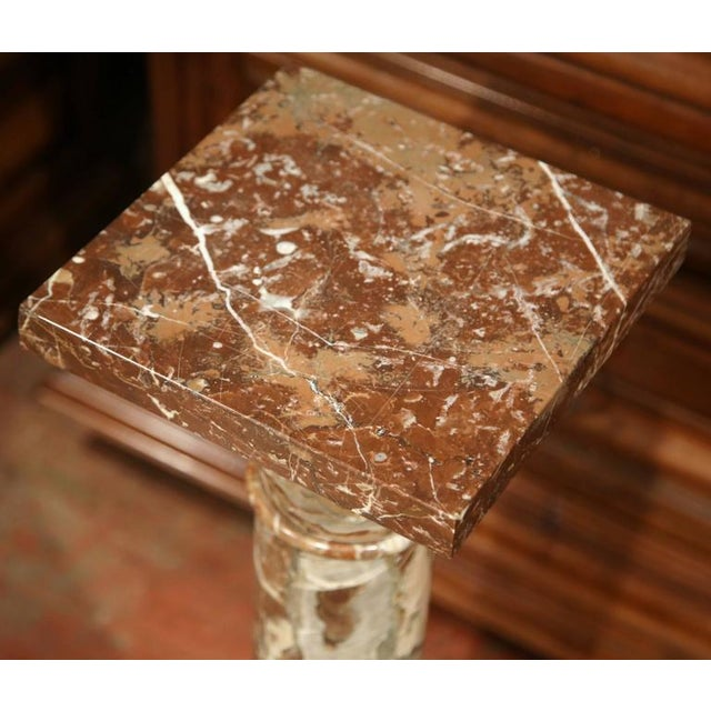 19th Century French Carved Red Marble Swivel Top Pedestal For Sale In Dallas - Image 6 of 6
