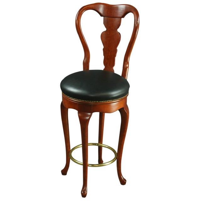 Queen Anne New Bar Stools Mahogany/Faux - A Pair - Image 2 of 6
