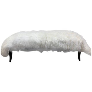 Long Hair Sheep Fur Bench Style of Robsjohn-Gibbings For Sale