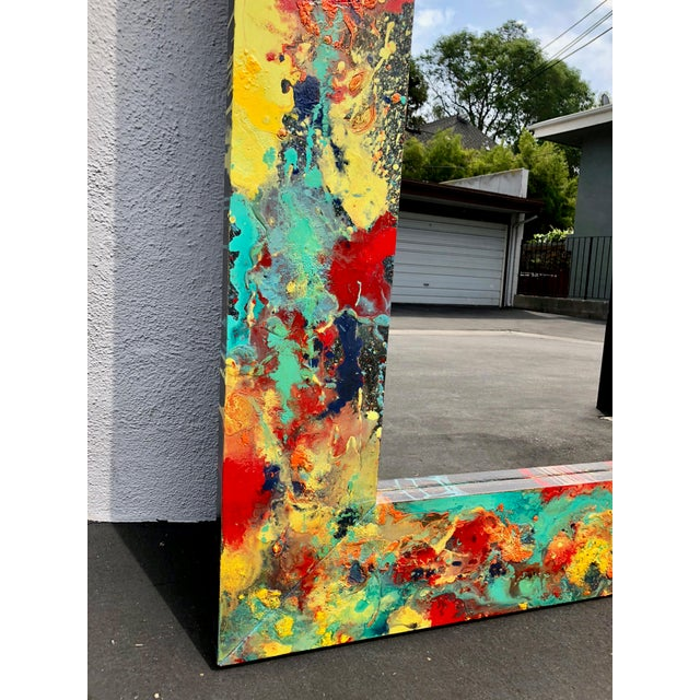 """Abstract Freeform Painted Custom Full Length Mirror - 37""""X 75"""" For Sale In Los Angeles - Image 6 of 11"""