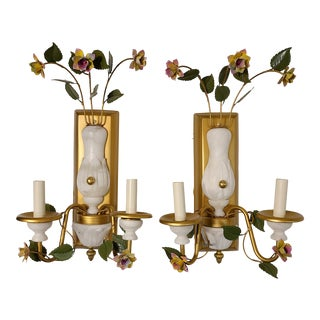Pair Tole Alabaster Wall Sconce For Sale
