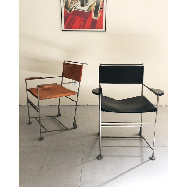 Onyx Kevin Walz Post Modern Leather & Iron Lounge Chairs- A Pair For Sale - Image 8 of 8