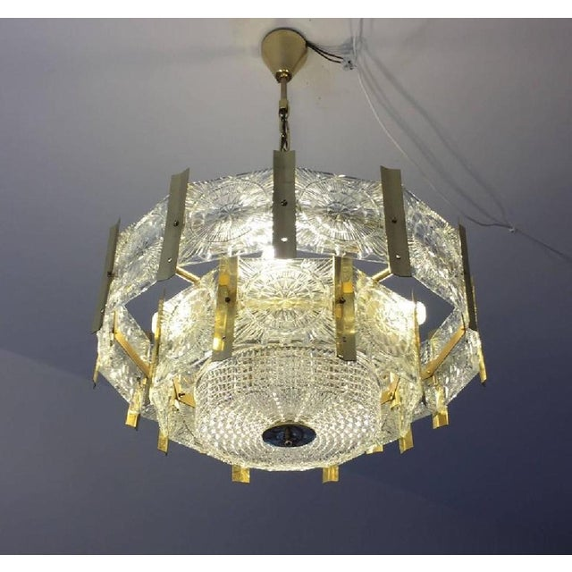 Mid-Century Modern Mid-Century Brass Chandelier, 1960s For Sale - Image 3 of 6