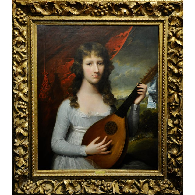 John Singleton Copley -Girl Playing the Lute-18th century oil painting attributed to John Singleton Copley oil painting on...
