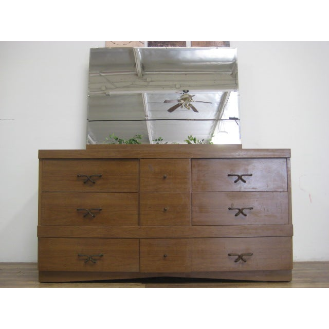 Mid Century Modern Dresser With Vanity Mirror - Image 4 of 9