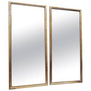 Modern Faux Bamboo-Framed Mirrors - a Pair