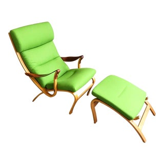 Danish Lounge Chair & Ottoman in Green Wool For Sale
