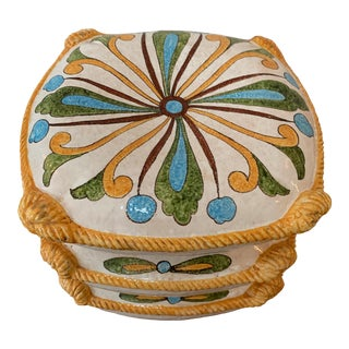 Vintage Ceramic Stacked Pillow Garden Stool For Sale