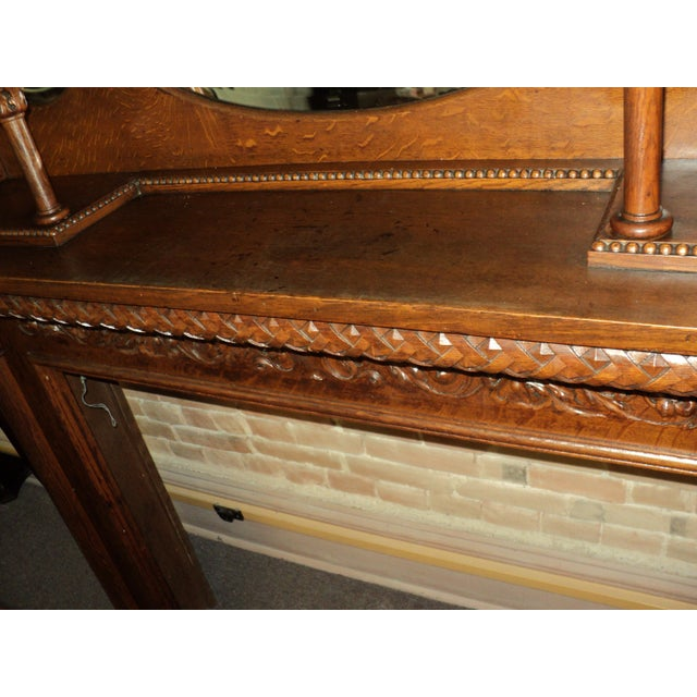 Late 19th Century Highly Carved Oak Fireplace Mantel For Sale - Image 10 of 12