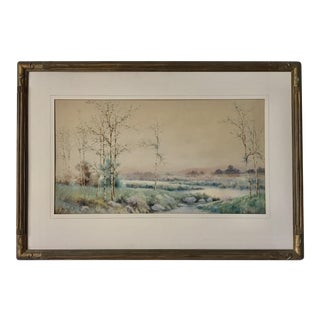 Antique Watercolor Landscape by William G. Russell For Sale