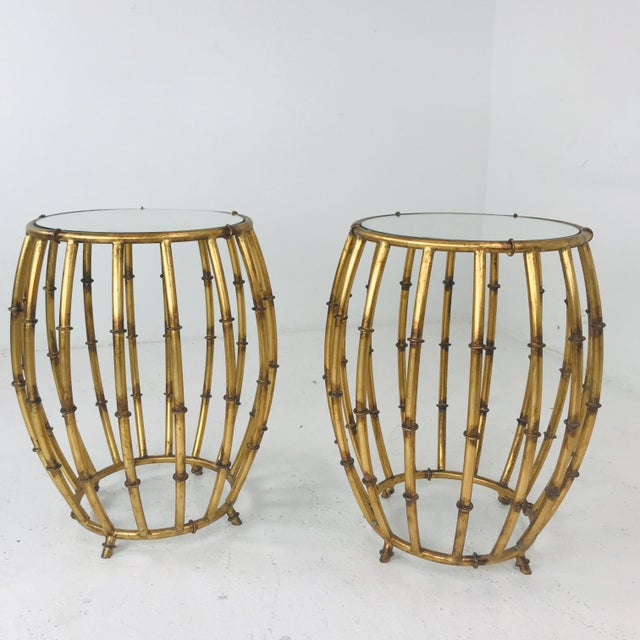 Tan Pair of Gold Faux Bamboo Drum Side Tables With Mirrored Tops For Sale - Image 8 of 12
