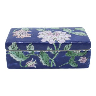 Antique Asian Ceramic Floral Peonies Jewelry Box For Sale