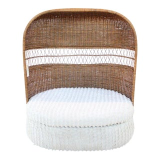1970s Boho Chic Rattan Loveseat For Sale