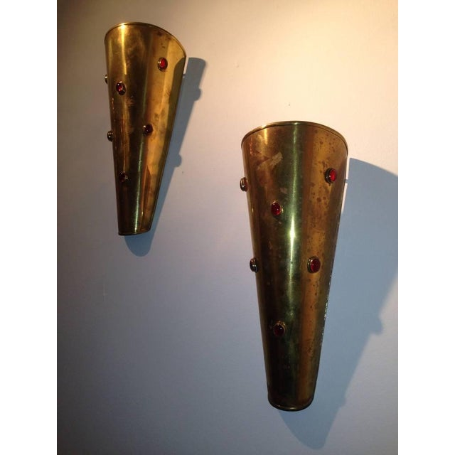 1950s Pair of Brass Wall Sconces with Ruby Red Cabochon Glass For Sale - Image 5 of 6