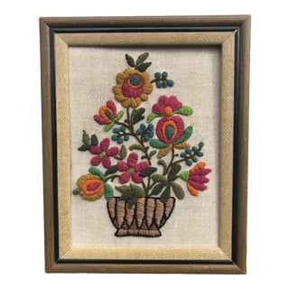 Jewel Toned Crewel Flower Textile Art For Sale