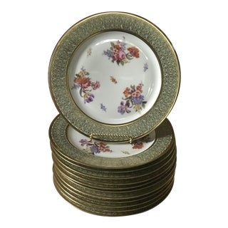 Bavaria Tirschenreuth Vintage/Antique, Dresden Flowers Gold Wide Band - Set of 12,Reduced Final For Sale
