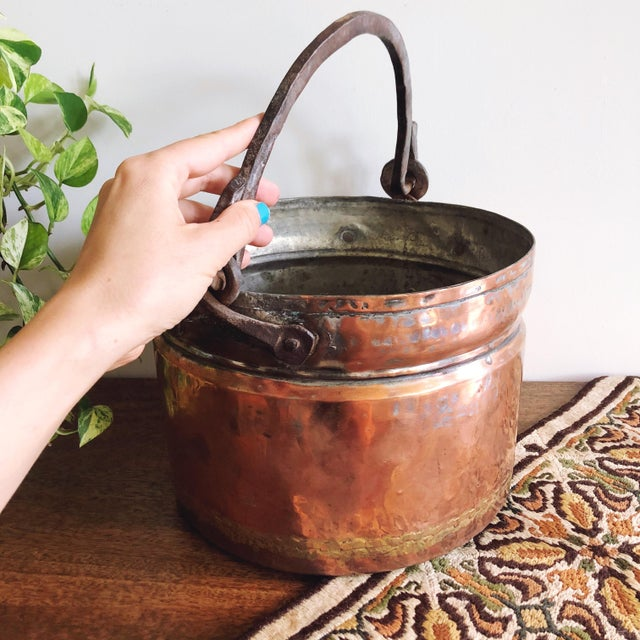 French Antique French Copper Pot With Hand-Forged Iron Handle For Sale - Image 3 of 7